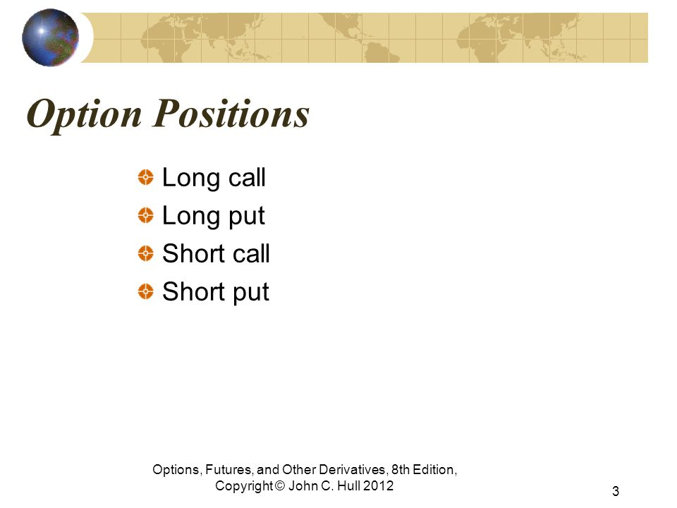 Option Positions Long call Long put Short call Short put Options, Futures, and Other Derivatives, 8th Edition, Copyright © John C.