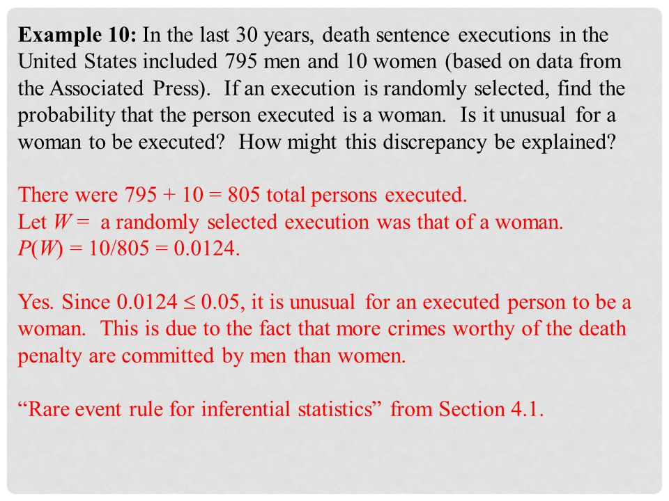 Example 10: In the last 30 years, death sentence executions in the United States included 795 men and 10 women (based on data from the Associated Press).