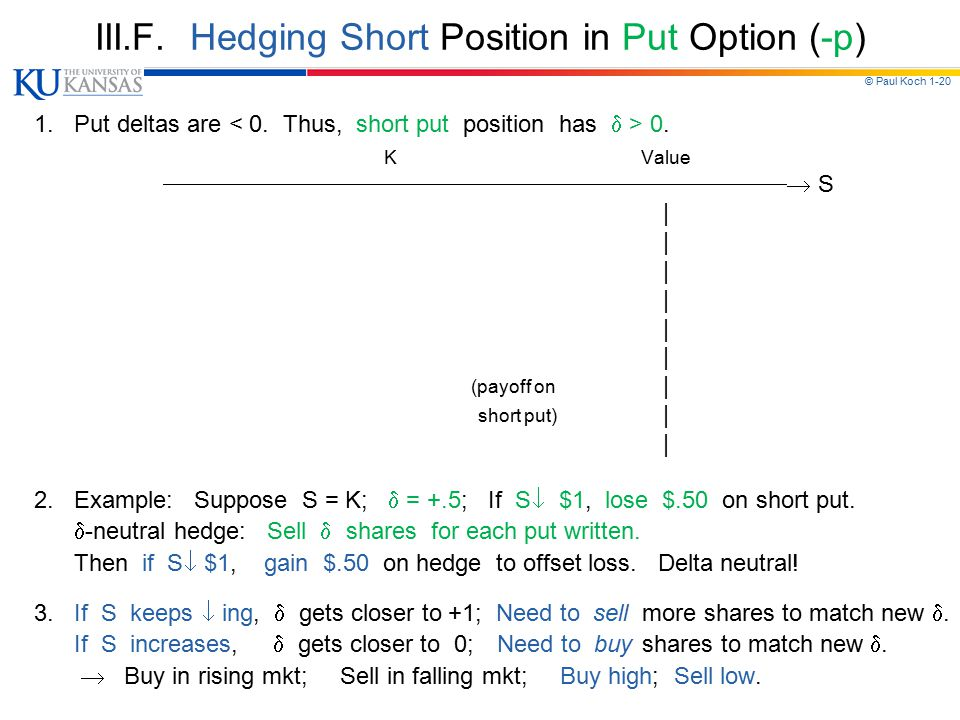 © Paul Koch 1-20 III.F. Hedging Short Position in Put Option (-p) 1. Put deltas are 0. K Value  S | (payoff on | short put)