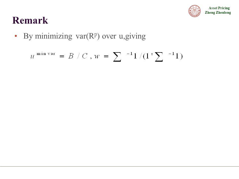 Asset Pricing Zheng Zhenlong Remark By minimizing var(R p ) over u,giving