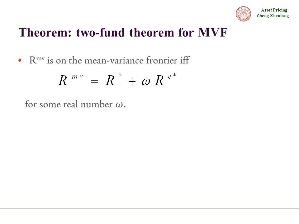 Asset Pricing Zheng Zhenlong Theorem: two-fund theorem for MVF