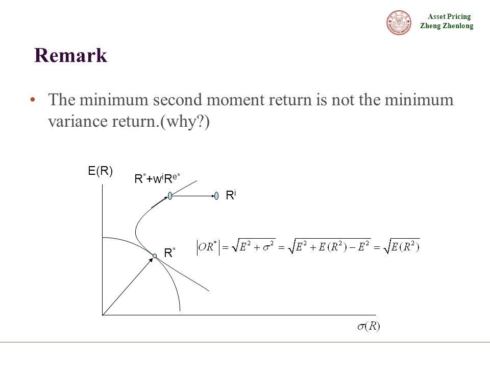 Asset Pricing Zheng Zhenlong Remark The minimum second moment return is not the minimum variance return.(why ) R*R* R * +w i R e* RiRi E(R)