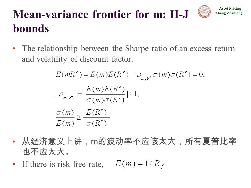 Asset Pricing Zheng Zhenlong Mean-variance frontier for m: H-J bounds The relationship between the Sharpe ratio of an excess return and volatility of discount factor.