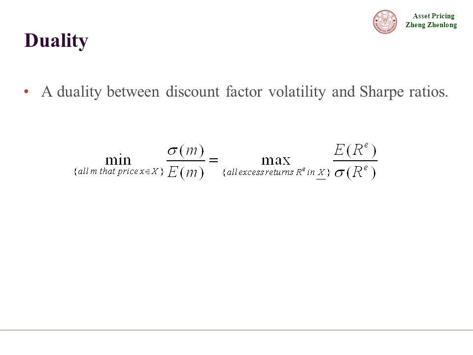 Asset Pricing Zheng Zhenlong Duality A duality between discount factor volatility and Sharpe ratios.