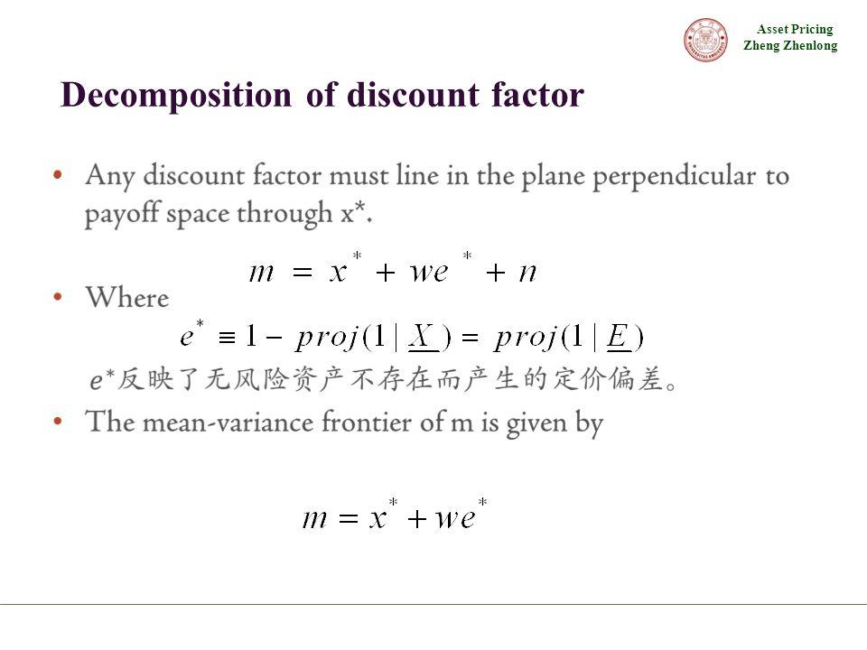 Asset Pricing Zheng Zhenlong Decomposition of discount factor