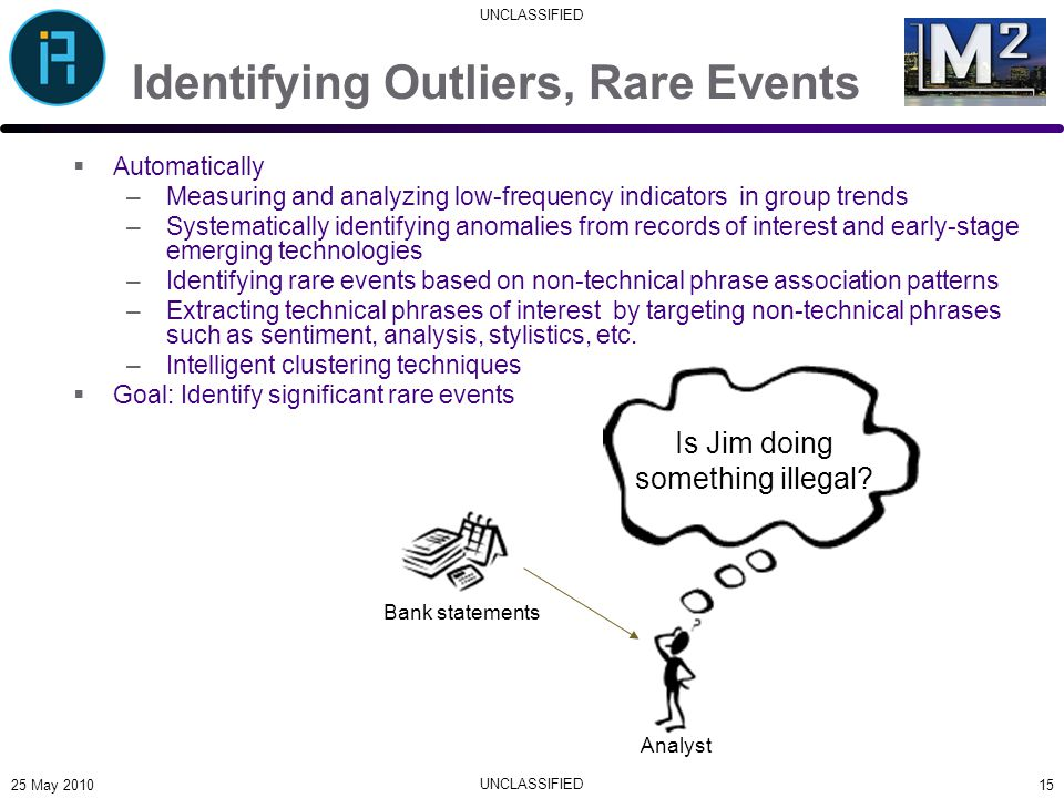 UNCLASSIFIED Identifying Outliers, Rare Events  Automatically –Measuring and analyzing low-frequency indicators in group trends –Systematically identifying anomalies from records of interest and early-stage emerging technologies –Identifying rare events based on non-technical phrase association patterns –Extracting technical phrases of interest by targeting non-technical phrases such as sentiment, analysis, stylistics, etc.