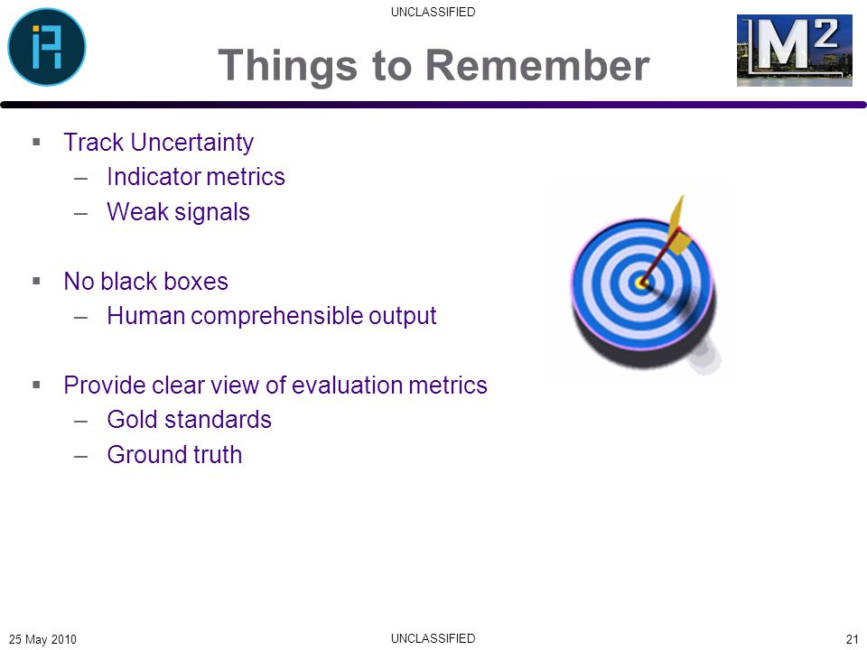 UNCLASSIFIED Things to Remember  Track Uncertainty –Indicator metrics –Weak signals  No black boxes –Human comprehensible output  Provide clear view of evaluation metrics –Gold standards –Ground truth 2125 May 2010