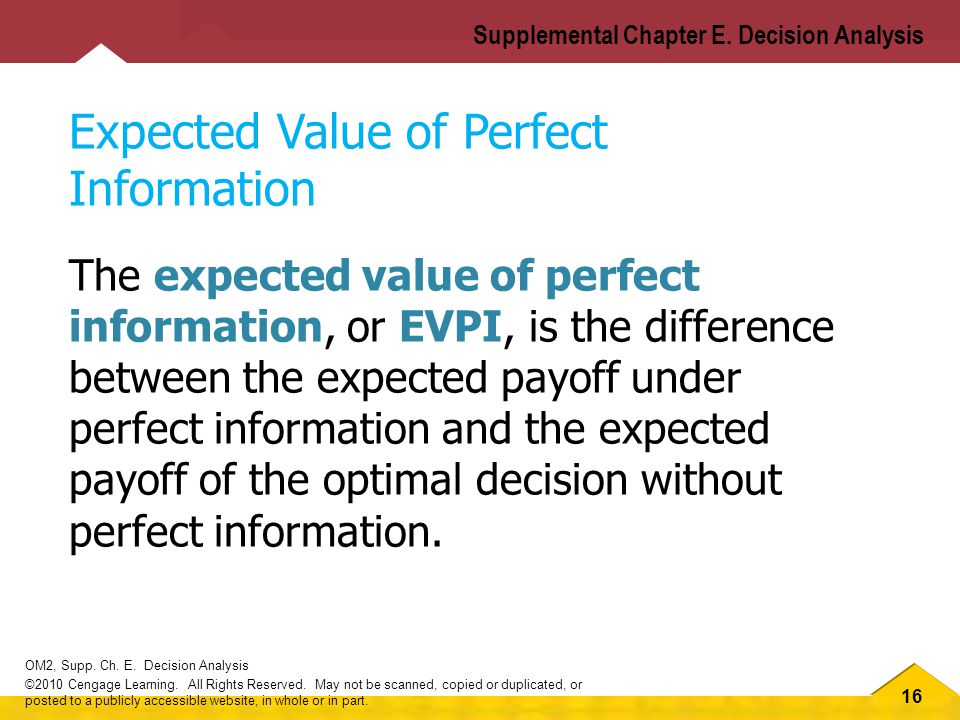 16 OM2, Supp.Ch. E. Decision Analysis ©2010 Cengage Learning.