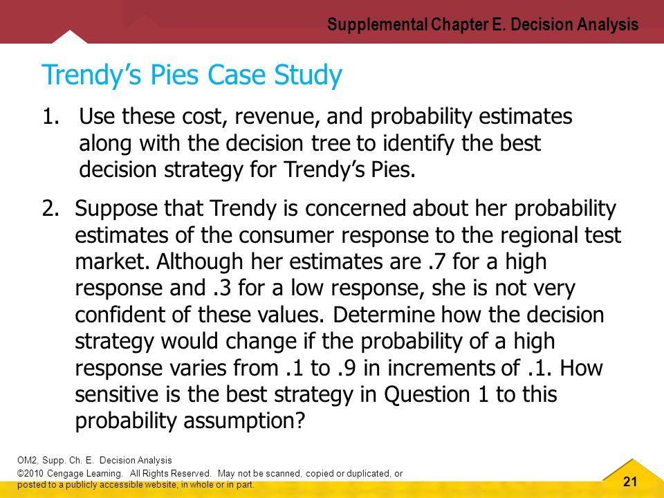 21 OM2, Supp.Ch. E. Decision Analysis ©2010 Cengage Learning.