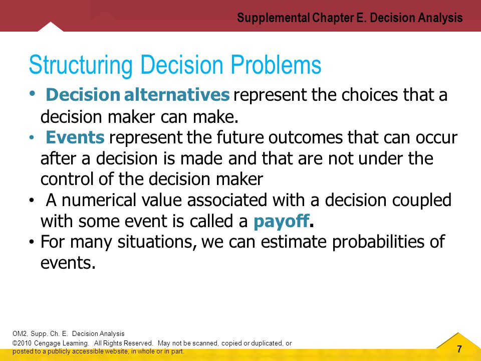 7 OM2, Supp.Ch. E. Decision Analysis ©2010 Cengage Learning.