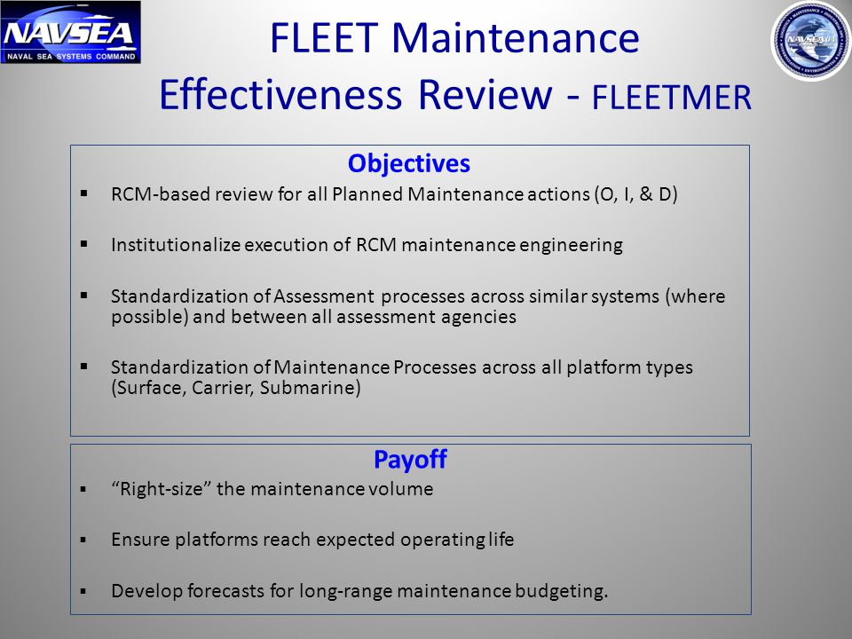 9 Objectives  RCM-based review for all Planned Maintenance actions (O, I, & D)  Institutionalize execution of RCM maintenance engineering  Standard
