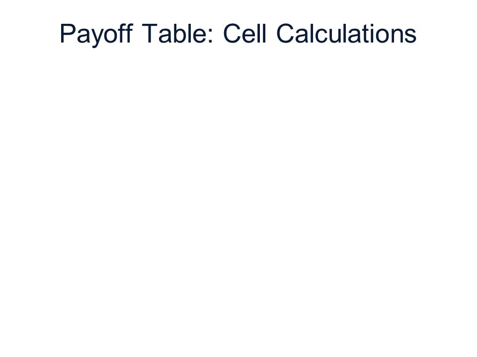 6 | 44 Copyright © Cengage Learning. All rights reserved. Payoff Table: Cell Calculations