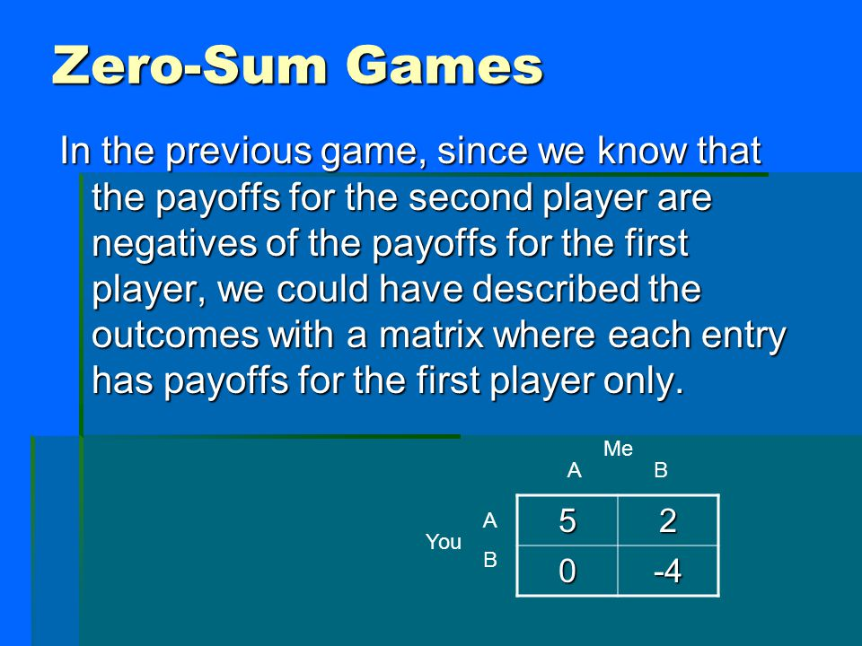 Zero-Sum Games In the previous game, since we know that the payoffs for the second player are negatives of the payoffs for the first player, we could have described the outcomes with a matrix where each entry has payoffs for the first player only.
