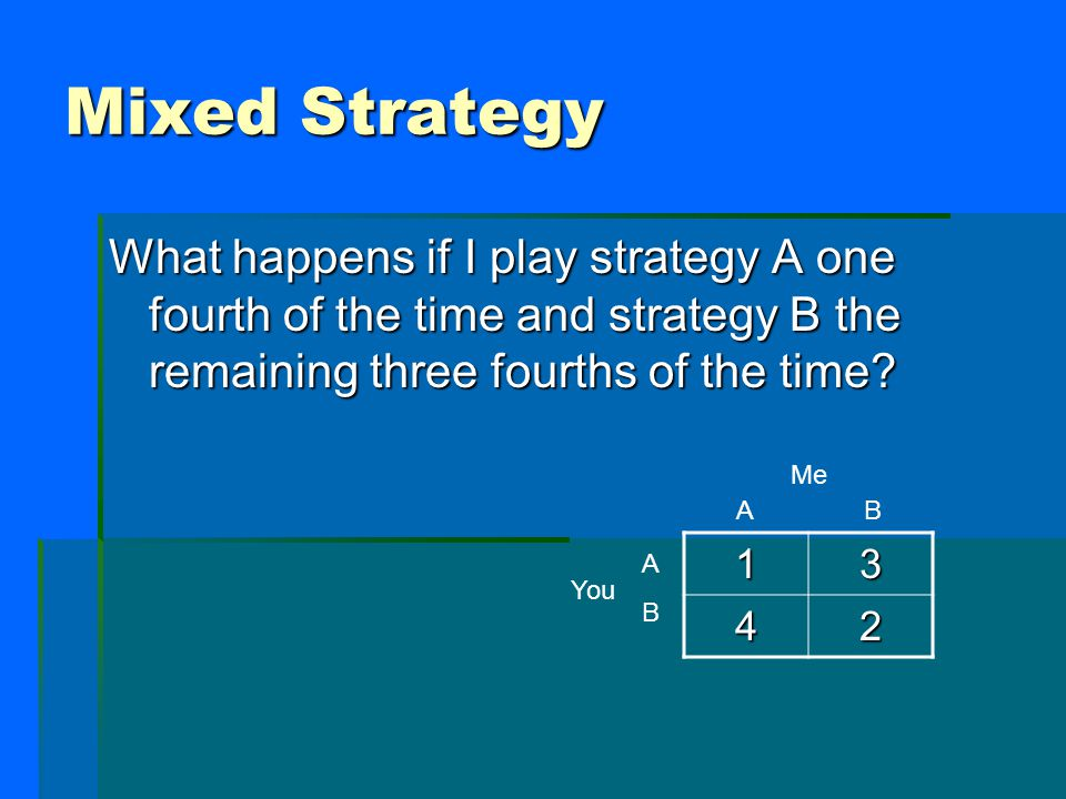 Mixed Strategy What happens if I play strategy A one fourth of the time and strategy B the remaining three fourths of the time? Me You 13 42 ABAB A B