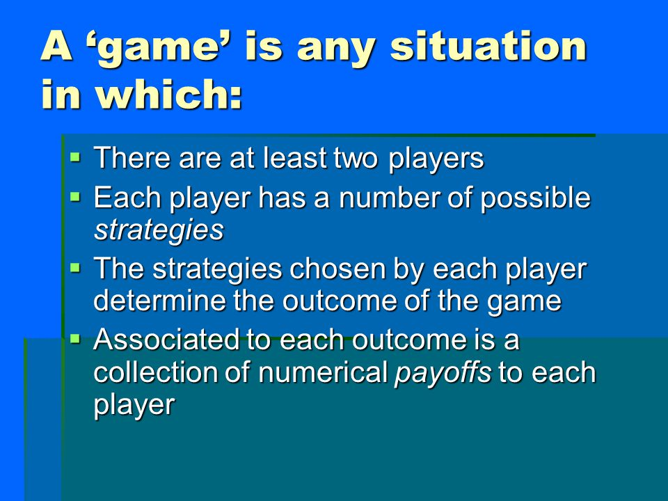 Payoffs in the Prisoner's Dilemma: Me You The first number in each ordered pair indicates the payoff to the first player, whose strategy options correspond to the rows of the matrix.