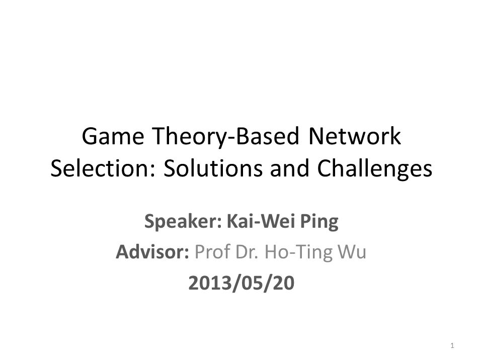 Case Source : 4G Converged Environment: Modeling Network Selection as a Game Game model : Strategic Game Objective : network selection - select the best network to satisfy a service request Strategy set : the service requests Payoff : Utility function Parameter : delay, jitter Resource : bandwidth RAT : 4G system 22