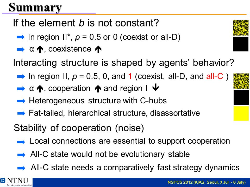 NSPCS 2012 (KIAS, Seoul, 3 Jul ~ 6 July) Summary If the element b is not constant.