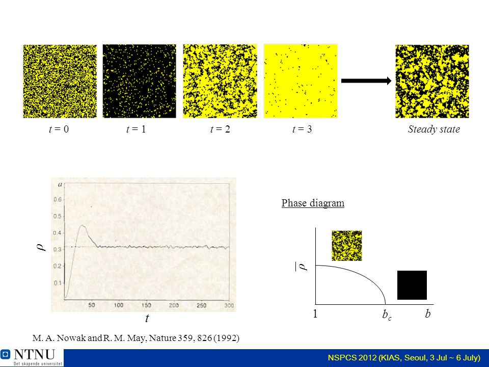 NSPCS 2012 (KIAS, Seoul, 3 Jul ~ 6 July) t = 0 t = 1t = 2t = 3Steady state t ρ ρ b bcbc 1 Phase diagram M.