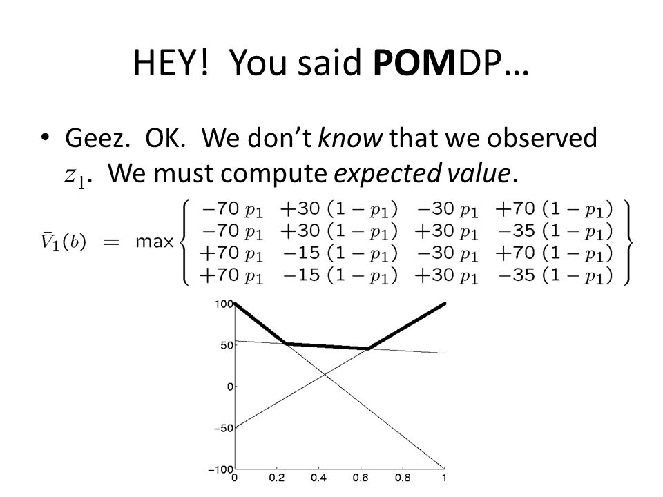 HEY! You said POMDP… Geez. OK. We don't know that we observed z 1. We must compute expected value.