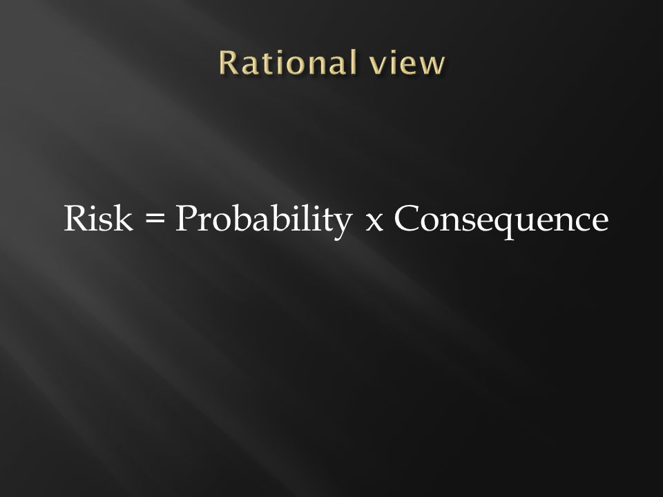 Risk = Probability x Consequence
