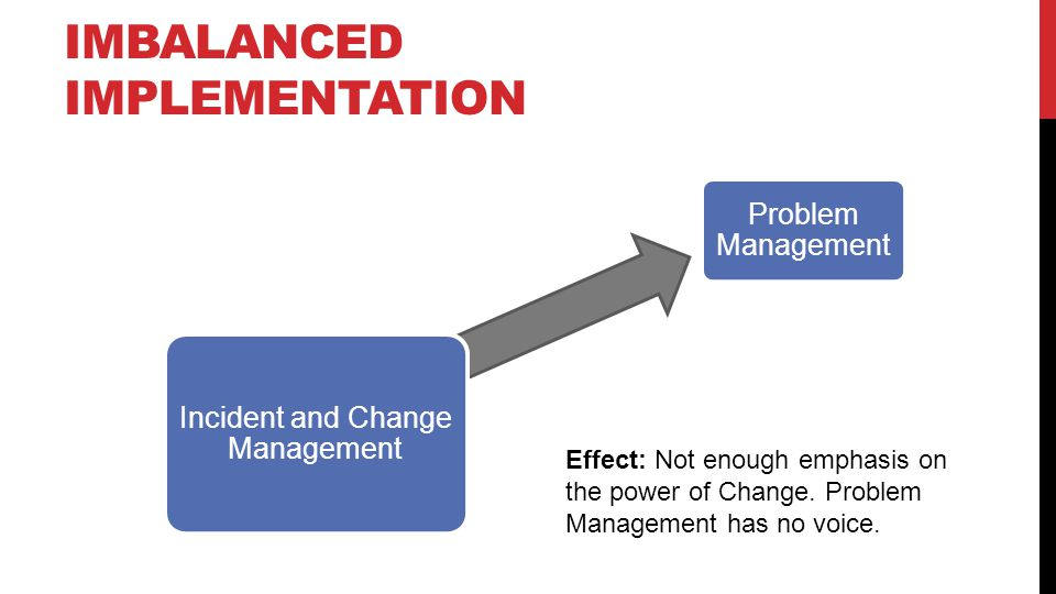 IMBALANCED IMPLEMENTATION Problem Management Change Management Incident and Change Management Effect: Not enough emphasis on the power of Change.