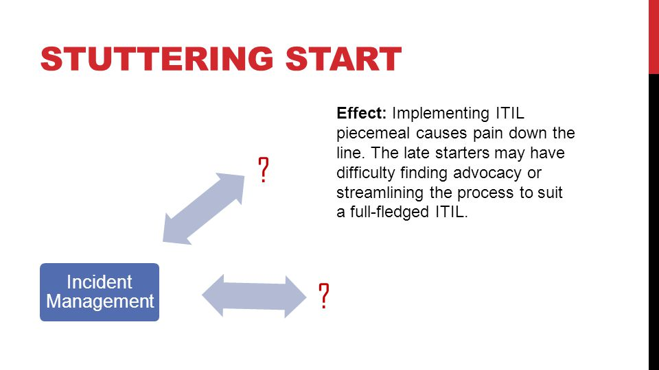 STUTTERING START Problem Management Change Management Incident Management Effect: Implementing ITIL piecemeal causes pain down the line.