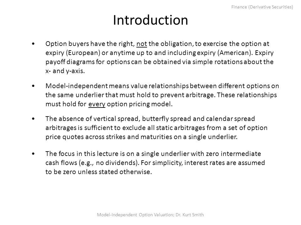 Finance (Derivative Securities) Introduction Model-independent means value relationships between different options on the same underlier that must hold to prevent arbitrage.
