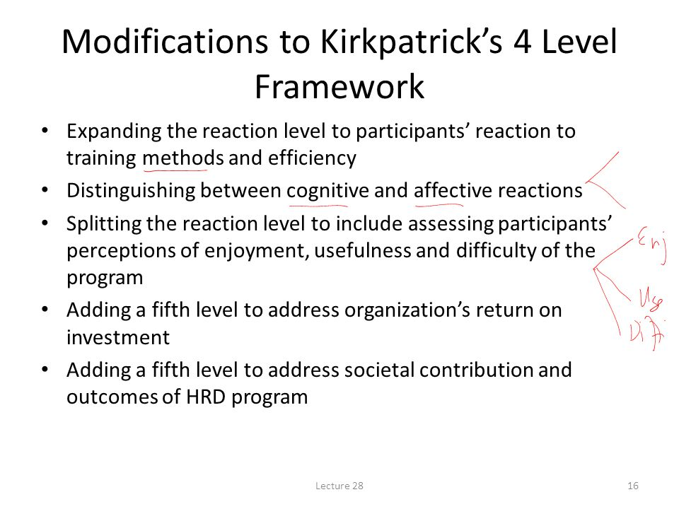 Lecture 2816 Modifications to Kirkpatrick's 4 Level Framework Expanding the reaction level to participants' reaction to training methods and efficiency Distinguishing between cognitive and affective reactions Splitting the reaction level to include assessing participants' perceptions of enjoyment, usefulness and difficulty of the program Adding a fifth level to address organization's return on investment Adding a fifth level to address societal contribution and outcomes of HRD program