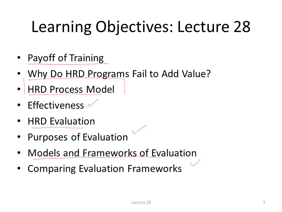 Learning Objectives: Lecture 28 Payoff of Training Why Do HRD Programs Fail to Add Value.