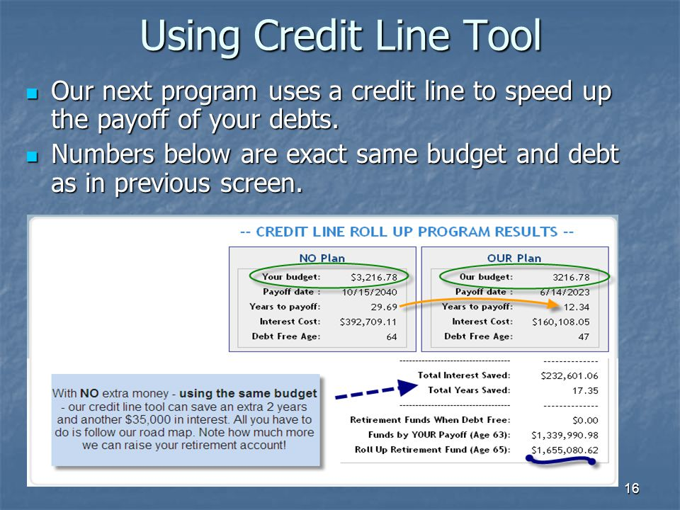 16 Using Credit Line Tool Our next program uses a credit line to speed up the payoff of your debts. Our next program uses a credit line to speed up th