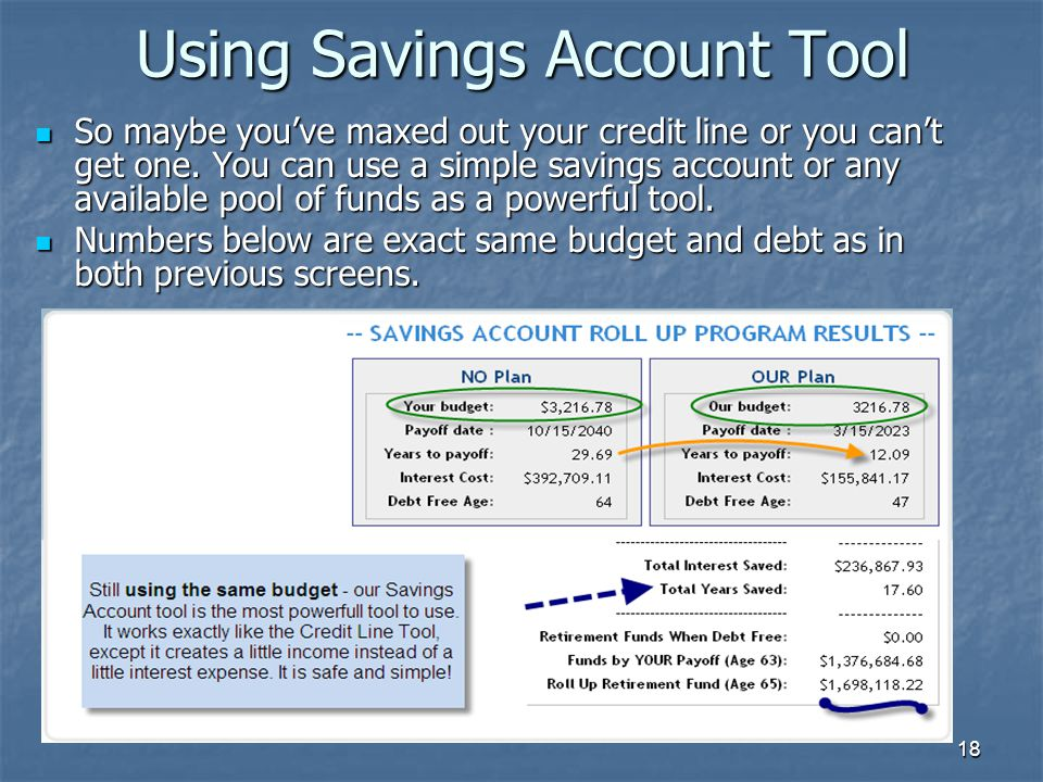 18 Using Savings Account Tool So maybe you've maxed out your credit line or you can't get one.