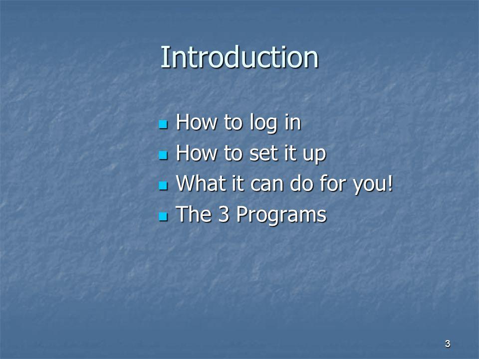 3 Introduction How to log in How to log in How to set it up How to set it up What it can do for you! What it can do for you! The 3 Programs The 3 Prog