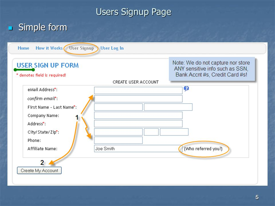 5 Simple form Simple form Users Signup Page