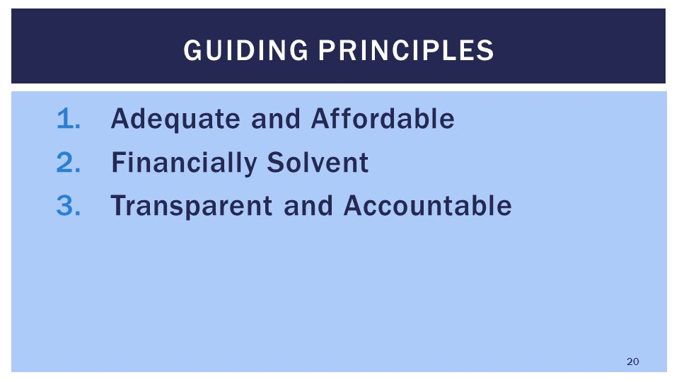 1.Adequate and Affordable 2.Financially Solvent 3.Transparent and Accountable GUIDING PRINCIPLES 20
