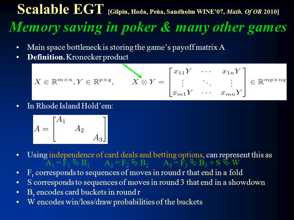 Scalable EGT [Gilpin, Hoda, Peña, Sandholm WINE'07, Math.