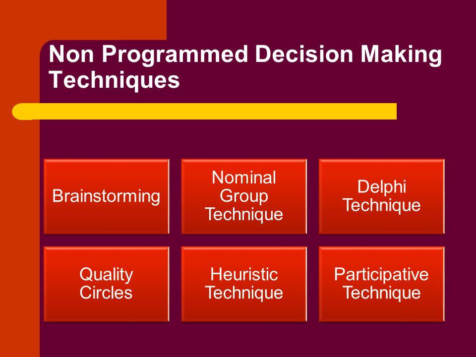 Non Programmed Decision Making Techniques Brainstorming Nominal Group Technique Delphi Technique Quality Circles Heuristic Technique Participative Technique