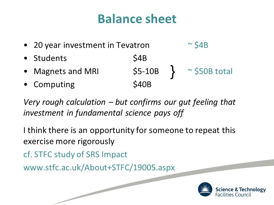 Balance sheet 20 year investment in Tevatron ~ $4B Students$4B Magnets and MRI$5-10B~ $50B total Computing$40B Very rough calculation – but confirms our gut feeling that investment in fundamental science pays off I think there is an opportunity for someone to repeat this exercise more rigorously cf.