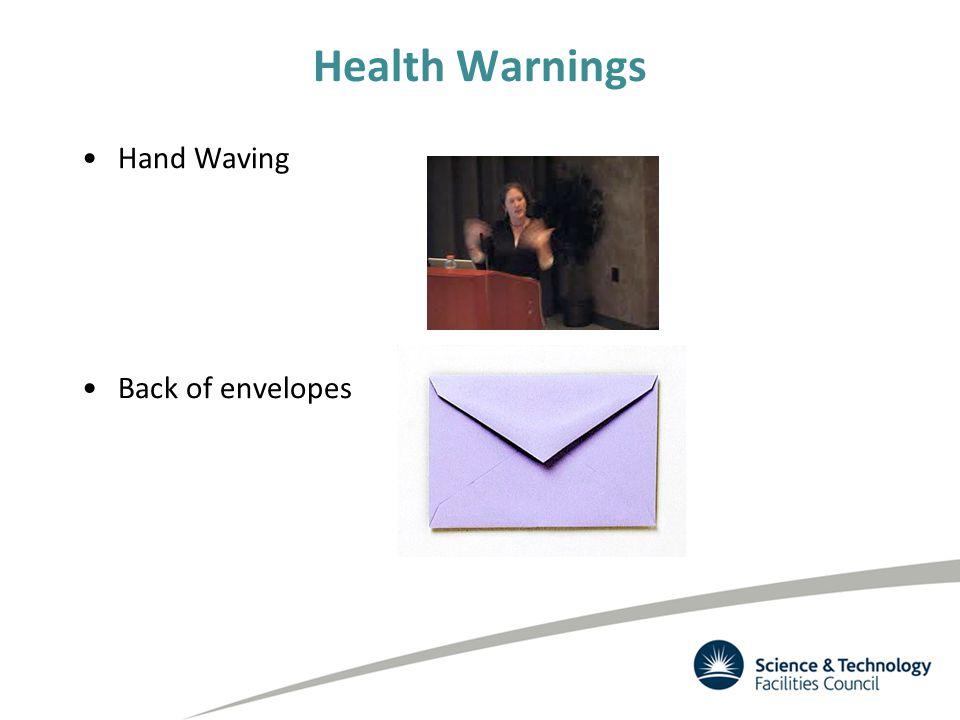 Health Warnings Hand Waving Back of envelopes