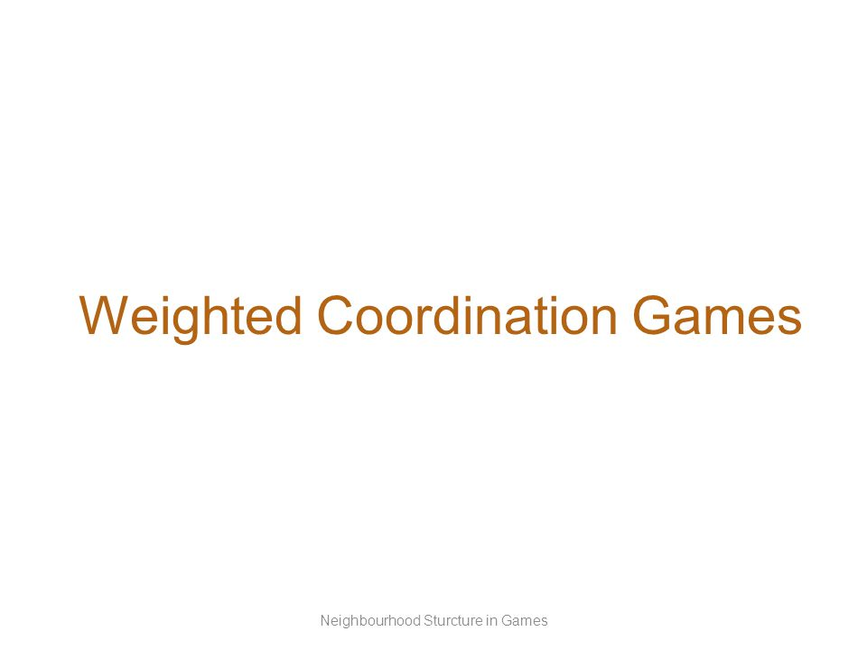 Weighted Coordination Games Neighbourhood Sturcture in Games