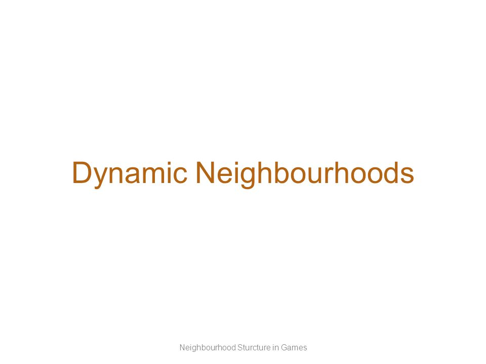 Dynamic Neighbourhoods Neighbourhood Sturcture in Games