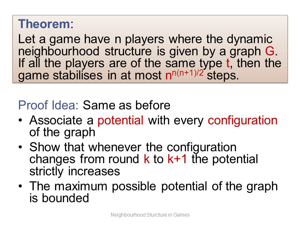 Theorem: Let a game have n players where the dynamic neighbourhood structure is given by a graph G.