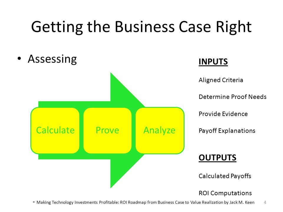 Deliver Getting the Business Case Right Delivering – Story telling INPUTS ROI Computations OUTPUTS Final Business Case 75% 5 - Making Technology Investments Profitable: ROI Roadmap from Business Case to Value Realization by Jack M.