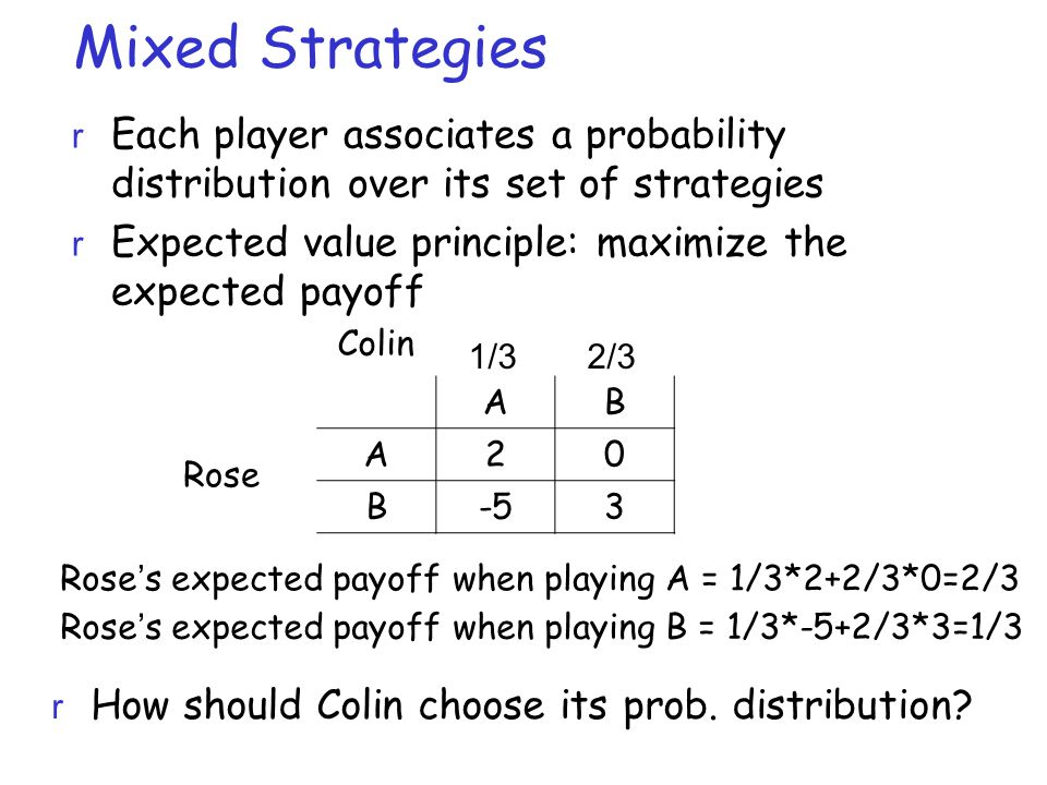 Mixed Strategies r Each player associates a probability distribution over its set of strategies r Expected value principle: maximize the expected payoff AB A20 B-53 Rose 1/32/3 Rose's expected payoff when playing A = 1/3*2+2/3*0=2/3 Rose's expected payoff when playing B = 1/3*-5+2/3*3=1/3 r How should Colin choose its prob.