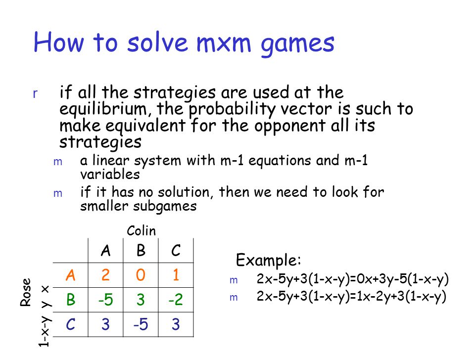 How to solve mxm games r if all the strategies are used at the equilibrium, the probability vector is such to make equivalent for the opponent all its