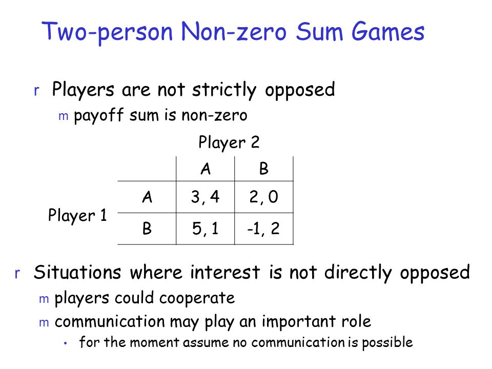Two-person Non-zero Sum Games r Players are not strictly opposed m payoff sum is non-zero AB A3, 42, 0 B5, 1-1, 2 Player 1 Player 2 r Situations where interest is not directly opposed m players could cooperate m communication may play an important role for the moment assume no communication is possible