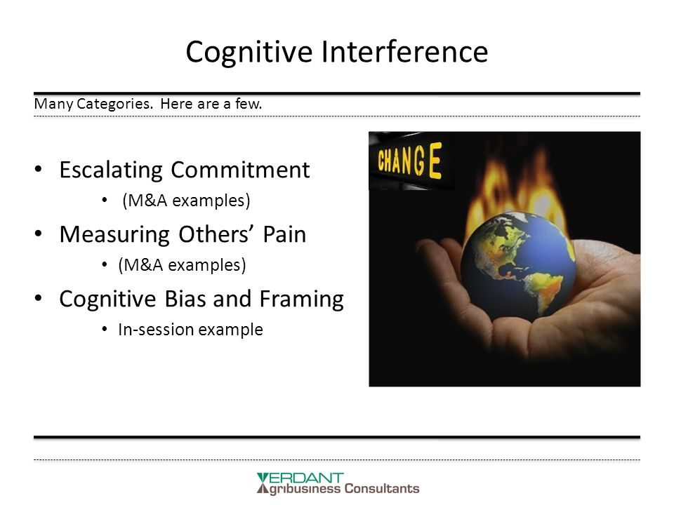 Cognitive Interference Escalating Commitment (M&A examples) Measuring Others' Pain (M&A examples) Cognitive Bias and Framing In-session example Many Categories.