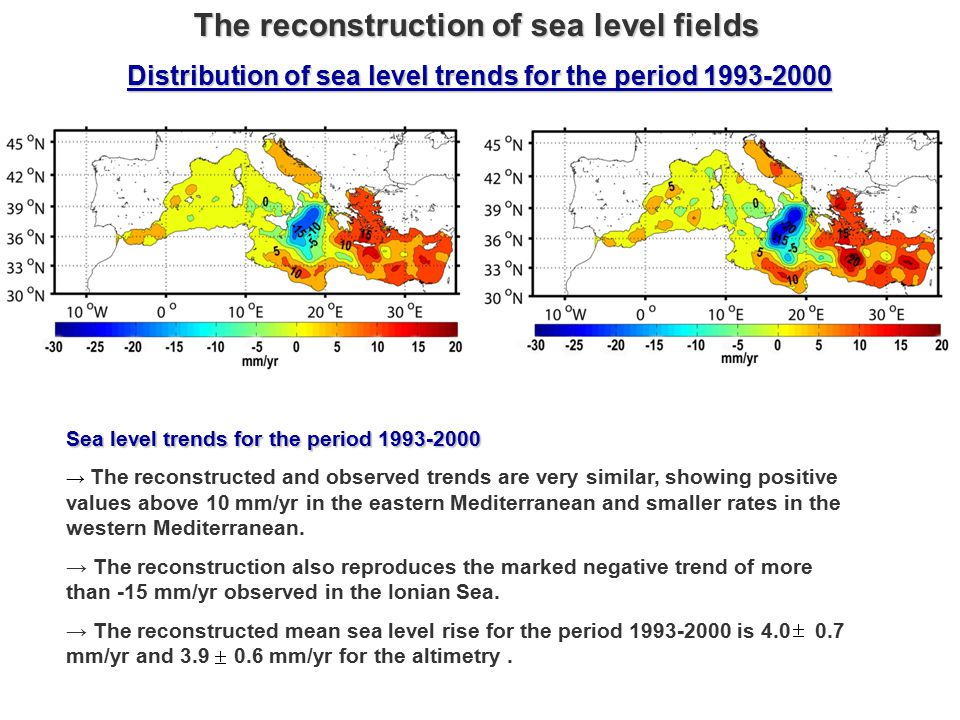 Sea level trends for the period 1993-2000 → The reconstructed and observed trends are very similar, showing positive values above 10 mm/yr in the eastern Mediterranean and smaller rates in the western Mediterranean.