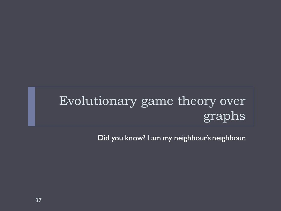 Evolutionary game theory over graphs Did you know I am my neighbour's neighbour. 37