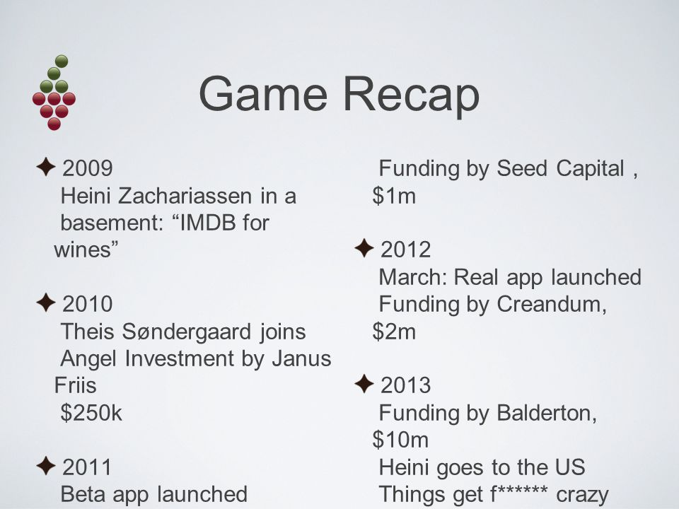 Game Recap 2009 Heini Zachariassen in a basement: IMDB for wines 2010 Theis Søndergaard joins Angel Investment by Janus Friis $250k 2011 Beta app launched Funding by Seed Capital, $1m 2012 March: Real app launched Funding by Creandum, $2m 2013 Funding by Balderton, $10m Heini goes to the US Things get f****** crazy