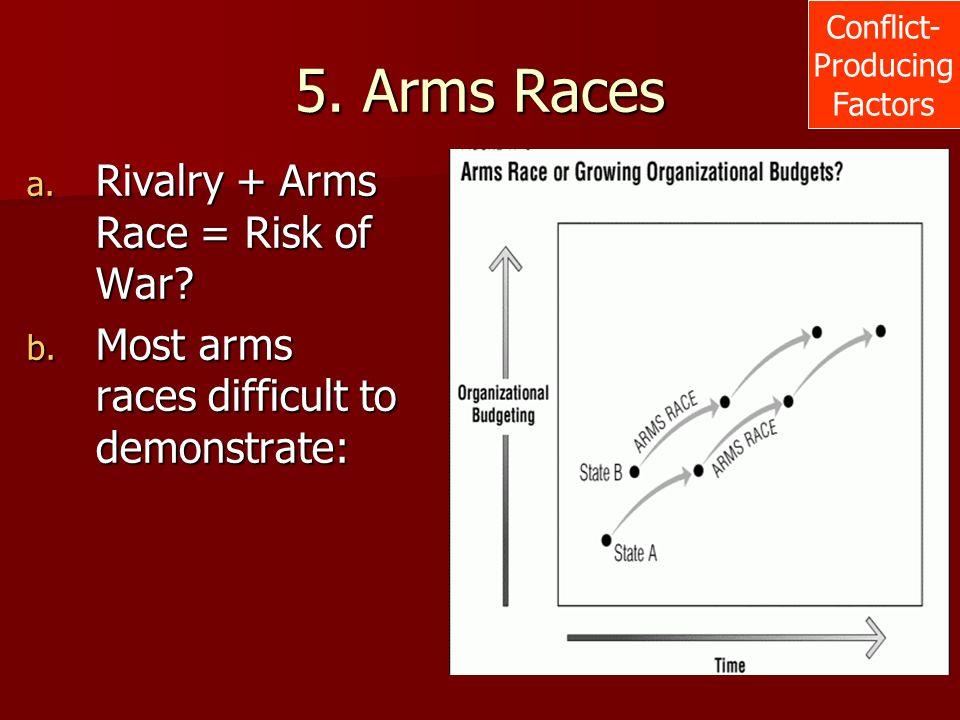 5. Arms Races a. Rivalry + Arms Race = Risk of War? b. Most arms races difficult to demonstrate: Conflict- Producing Factors